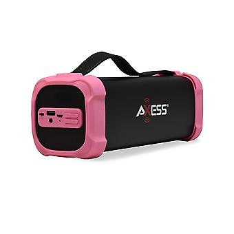 Axess Portable Bluetooth Media Speaker With 3.5mm Aux Jack and FM Radio - Pink