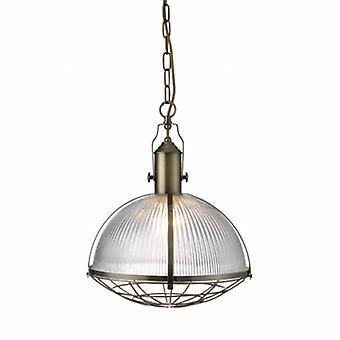 1 Light Ceiling Pendant Antique Brass, Glas
