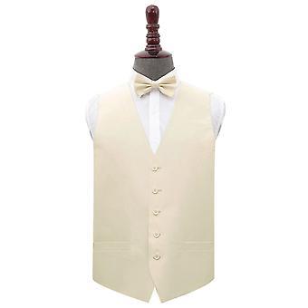 Beige Plain Shantung Wedding Waistcoat & Bow Tie Set