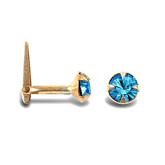 Jewelco London Ladies 9ct Yellow Gold Aqua Blue Round Crystal Solitaire Claw Set Andralok Hinged Nose Stud 4mm