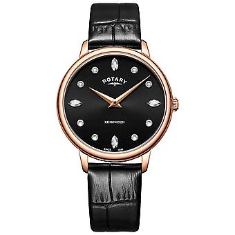 Rotary | Women's Kensington | Swarovski Crystal Black Dial | LS05174/04 Watch