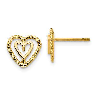 14k oro amarillo con textura pulida Post pendientes corazón pendientes -.9 gramos - 10x10m m medidas