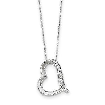 925 Sterling Zilver Gepolijst Spring Ring Rhodium verguld CZ Kubieke Zirconia Gesimuleerde Diamond Dochter In Law 18inch Neckl