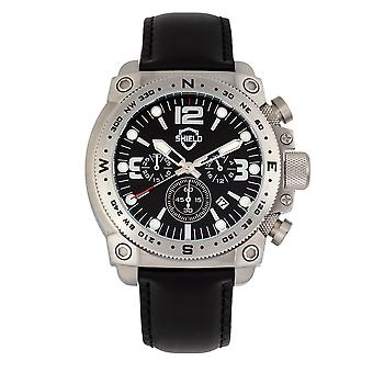 Shield Tesei Chronograph Leather-Band Men's Diver Watch w/Date - Silver/Black