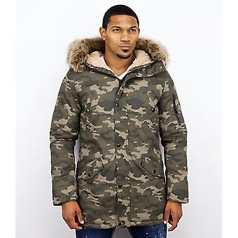 Long Winter Coat - With Faux Fur Collar - Camouflage