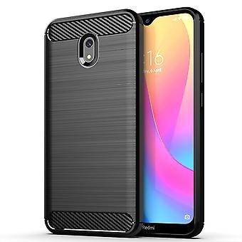 Xiaomi Redmi 8A TPU sag carbon fiber optik børstet beskyttende sag sort