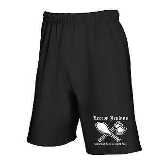 Black tracksuit shorts fun2344 leeroy jenkins