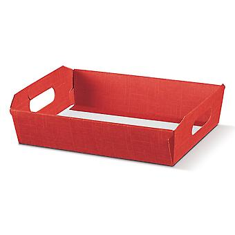35cm Red Textured Cardboard Gift Hamper Tray - Recyclable