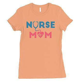 Infermiera Mamma Donne Peach Carino Grafica T-Shirt Per Infermiera Mamma Camicia