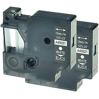 Kaseta Prestige™ kompatybilna d1 45021 biała na czarnych taśmach (12mm x 7m) dla producentów etykiet elektronicznych