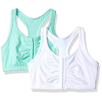 Fruit of the Loom Women's 2 Pk Front Close Racerback,, Mint Chip/White, Size 38