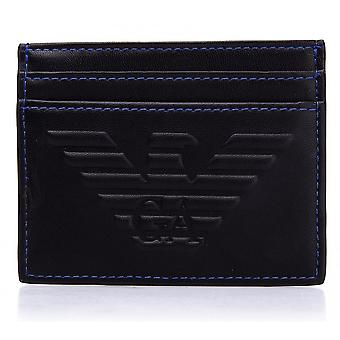 Emporio Armani Branded Faux Leather Black Cardholder