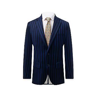 Dobell Mens Navy Suit Jacket Regular Fit Blue Pinstripe