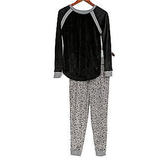Cuddl Duds Kvinner's Petite Pyjamas Sett Plysj Fløyel Fleece Svart A294796