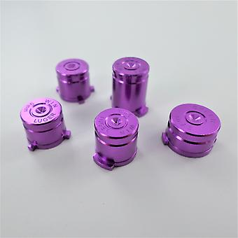 Metal button set for xbox one wireless controller aluminium alloy bullet inc a b x y & guide button - purple | zedlabz