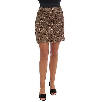 Dolce & Gabbana Gold Black Short Mini Skirt