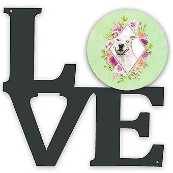 White Pit Bull Terrier Green Flowers Metal Wall Artwork LOVE