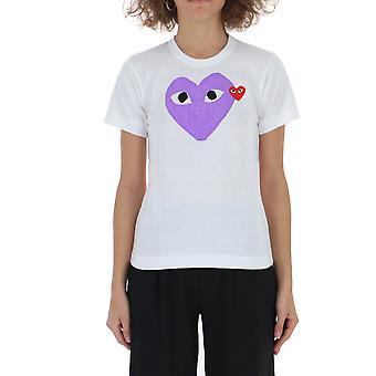 Comme Des Garçons Play P1t1051 Women's White Cotton T-shirt