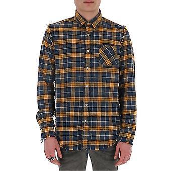 R13 R13w754676 Men's Blue/yellow Cotton Shirt