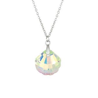 Eternal Collection Seashell Aurora Borealis Crystal Silver Tone Pendant