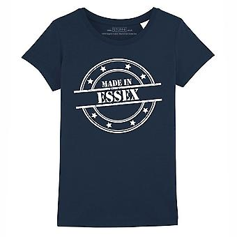 STUFF4 Girl's Round Neck T-Shirt/Made In Essex/Navy Blue