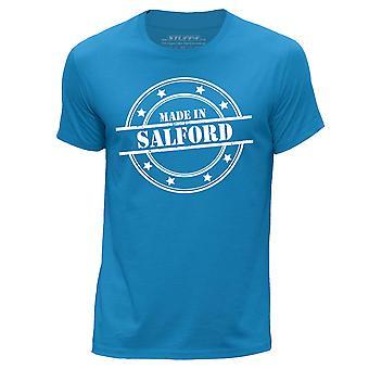 STUFF4 Men's Round Neck T-Shirt/Made In Salford/Blue