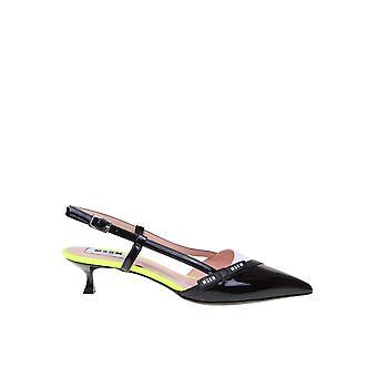Msgm 2841mds084928101 Women's Black Patent Leather Sandaler