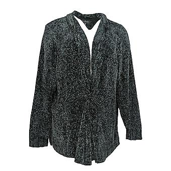 Anybody Women's Plus Sweater Chenille Tie-Front Cardigan Black A372139