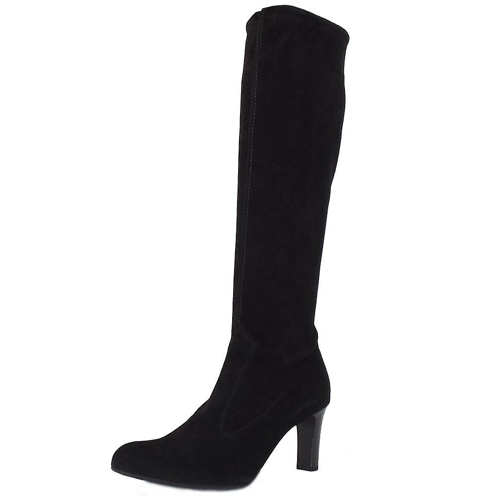 Peter Kaiser Levke Pull On Stretch Knee High Boots In Black Suede cnRqI