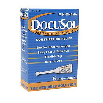 Docusol constipation relief, mini enemas, 5 ea