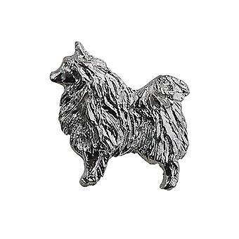 Sølv 22x29mm hund broche