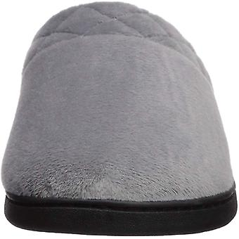 Dearfoams Women's Microfiber Velour Clog with Quilted Cuff Wide Width