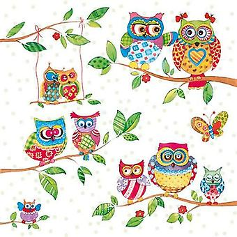 CraftEmotions napkins 5pcs - Owls in Summerland 33x33cm Ambiente 13308715