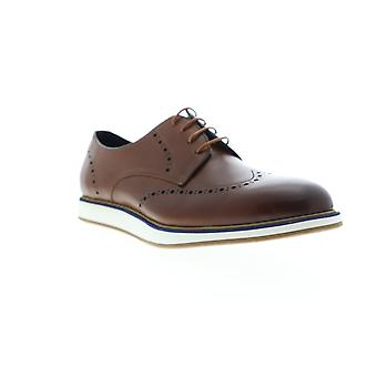 Zanzara Walker  Mens Brown Leather Casual Lace Up Oxfords Shoes