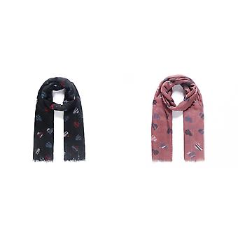 Intrigue Womens/Ladies Heart Print Embellishment Scarf