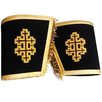 Masonic gauntlets cuffs - 33rd degree with cross bullion embroidered with fringe