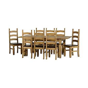 Corona Extending Dining Set (1+8) - Dwp/braun Pu