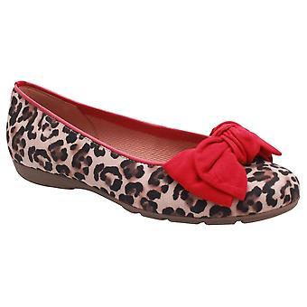 Gabor Redshank Leopard Print Ballet Pomp met rode boog