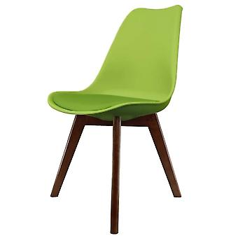 Fusion Living Eiffel Inspiré Green Plastic Dining Chair With Squared Dark Wood Legs
