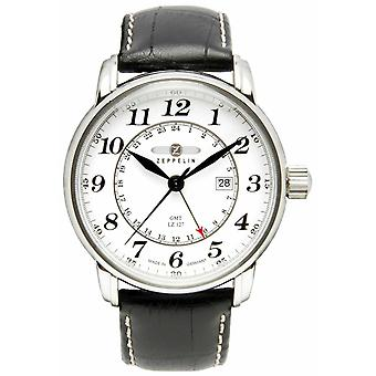 Zeppelin LZ 127 Transatlantic GMT | Black Leather Strap | White Dial 7642-1 Watch