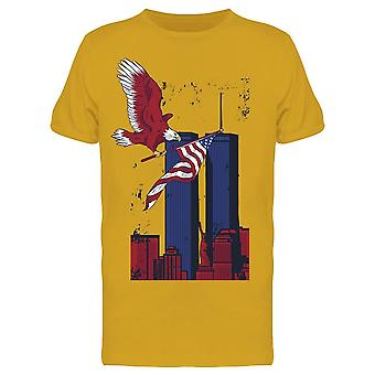 Eagle American Flag Buildings Men's T-shirt