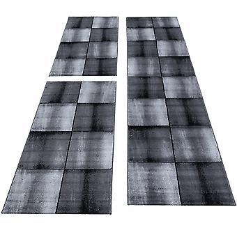 Tapis Set Bed Border 3 Piece Runner ShortFlor Bedroom Tile Design Grey