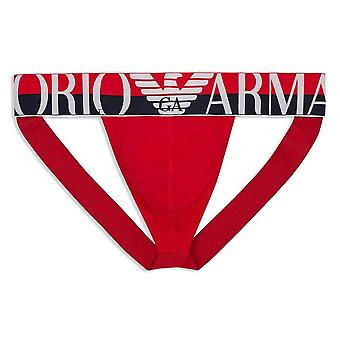 Emporio Armani Mega Logo Stretch Cotton Jockstrap, Red, Large