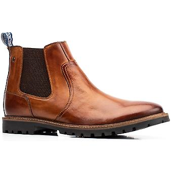 Base London Mens Wilkes Washed Pull On Chelsea Boot Tan