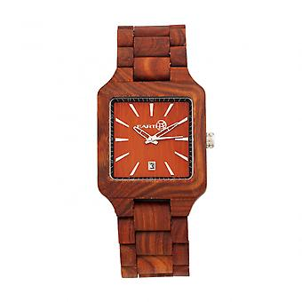 Tierra madera Arapaho pulsera reloj w/fecha - rojo