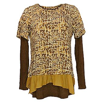 LOGO by Lori Goldstein Women's Top Printed Cotton Tee Brown A309155