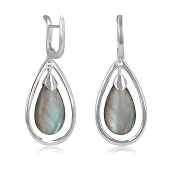 ADEN 925 Sterling Silver Labradorite Drope Shape Earrings (id 4433)