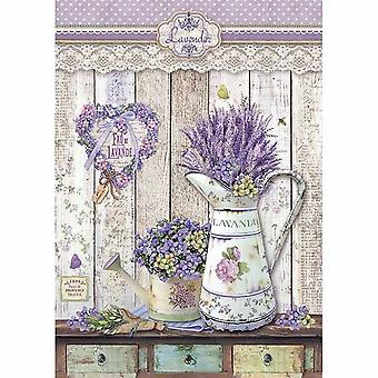 Stamperia Rice Papier A4 Provence Shabby Watering Blikjes