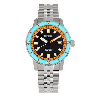 Heritor automatische Edgard armband Diver ' s horloge w/datum-licht blauw/zwart