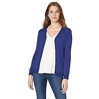 Lark & Ro Women's Long Sleeve V Neck Pima Cotton Cardigan, Cobalt, Medium